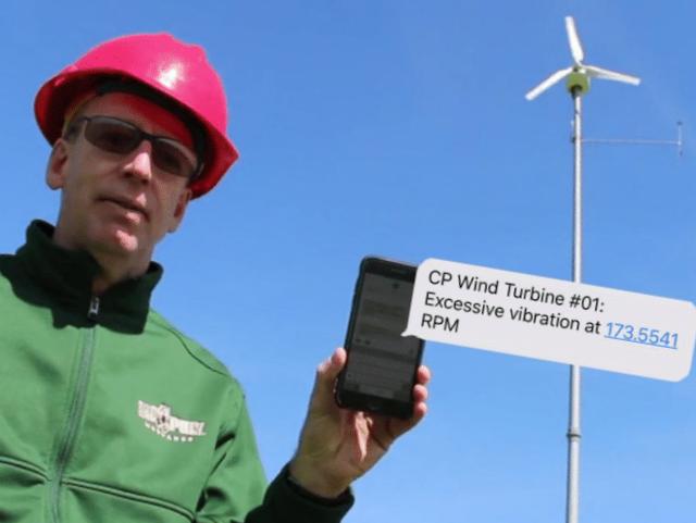 Hard hat wind turbine worker